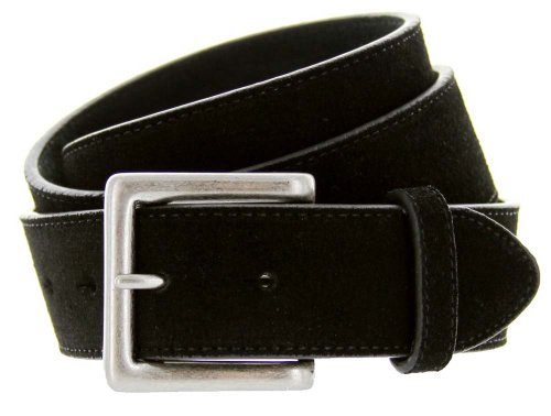 "Square Buckle Suede Leather Casual Jean Belt 1.5"" Wide Black 34"