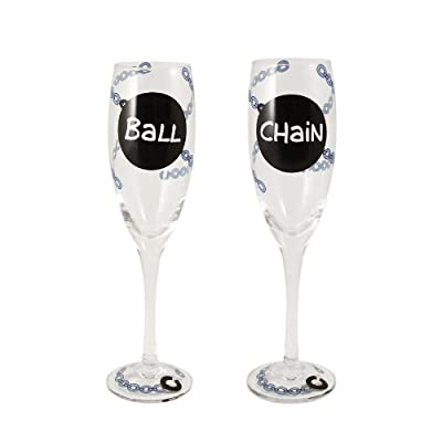 Our Name Is Mud by Lorrie Veasey Ball/Chain Champagne Flute Set Glassware, 9-Inch