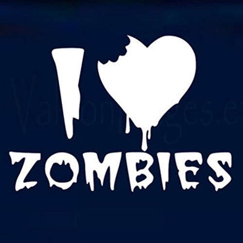 I Love Zombies Vinyl Cut Decal Sticker|Cars Trucks Vans Walls Laptop| White| 5 X 3.5 In Decal|KCD285