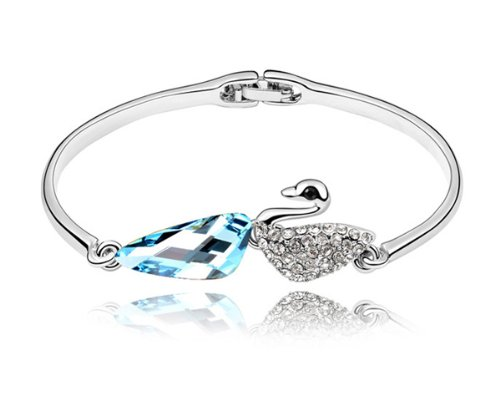 Ninabox ® Forest Elf Collection [FEC] -- Lovely Little Swan. 18K White Gold Plated Alloy Swan Bangle Bracelet with Teardrop Blue and Small Clear Swarovski Elements Crystal. Bracelet Diameter: 5.4 cm *4.3 cm. BSZ02998SB