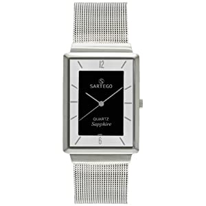 Men's Square Silvertone Sartego Seville Watch Black Dial
