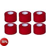 Cawila - Nastro per bendaggio sportivo, 6 rotoli, 3,8 cm x 10 m, Rosso (rosso), 3,8 cm x 10 m
