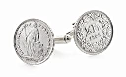 Silver Swiss Coin Cufflinks with Sterling Silver Fittings. Made in the USA