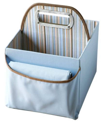 Jj Cole Collections Diaper Caddy, Blue Stripe front-169845