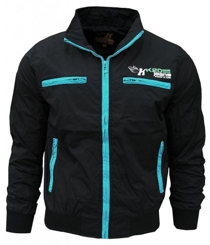 K20 Jeans Droid Men's Lightweight Sports Rain Wind Jacket black/turquoise Extra Large