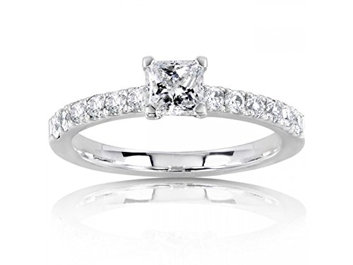 0.58 Carat Engagement Ring on Sale with Princess cut Diamond on 14K White gold