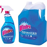 Windex Advanced Glass & Multi Surface Cleaner 32oz Spray Bottle + 172oz (1.34gal) Refill