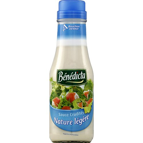 Bénédicta - Sauce crudités nature légère - Le flacon verre de 295g - (pour la quantité plus que 1 nous vous remboursons le port supplémentaire)