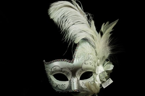 White and Silver Finish Venetian Mask with Classy Mardi Gras Decor and Side Feathers