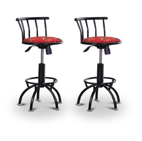 "2 New Spiderman Adjustable 24""-29"" Height Black Metal Swivel Seat Bar Stools front-1075290"
