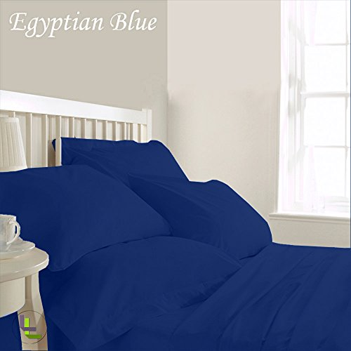 Bed Bee Full 300Tc Wonderful 1Pc Flat Sheet, 1Pc Fitted Sheet & 4 Pillowcases Waterbed Solid (Pocket Size: 15 Inches) Egyptian Blue Solid 100% Egyptian Cotton front-85880