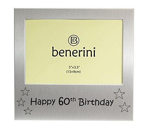 Happy 60th Birthday - Photo Frame Gift - Photo Size 5 x 3.5 Inches (13 x 9 cm) - Brushed Aluminum Satin Silver Color.