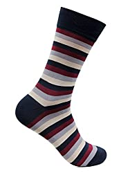 Bonjour Mens Cotton Rich Formal Broad Striped Calf Length Signature Socks