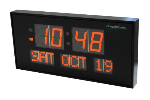Ehealthsource big oversized digital red led calendar clock with day and date - shelf or wall mount (16 inch, orange)