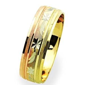 Little Treasures 14 ct Three Tone Gold 6MM Wedding Band Diamond-Cut Ring
