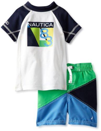 Nautica Baby-Boys Infant 2 Piece Rashguard Set, Sport Navy, 12 Months front-1038099