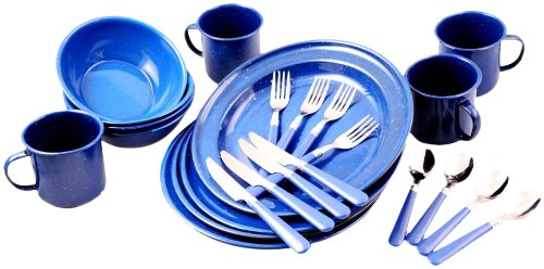You Can Acquire Unica Camping Collection 24 Piece Camping Dinnerware Set,  Blue Enamel, Service For 4 Solely In Store Currently.
