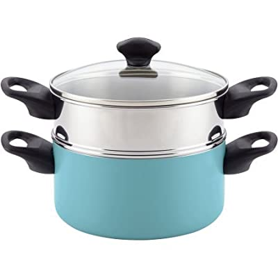 Farberware Dishwasher Safe Nonstick Aluminum Covered Saucepot and Steamer Insert, 3 Quart - Aqua
