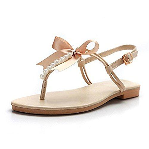 Minetom Donne Ragazze Estate Sandali Dolce Stile Spiaggia Scarpe Perline-Strap Peep Toe Pantofole Con Bowknot Beige 35