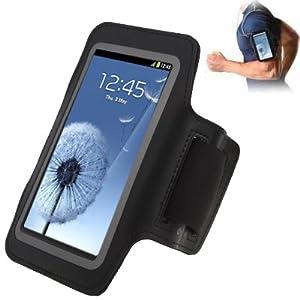 Brassard tour de bras noir pour Samsung Galaxy S4 i9500 S3 i9300 idéal pour les sportifs, course à pied ou salle de sport, pochette pour clé et trous pour écouteurs.