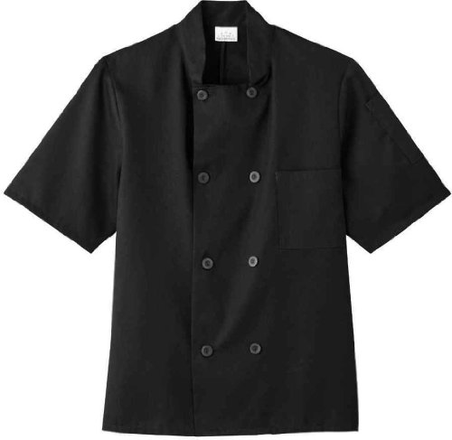White Swan Unisex Short Sleeve Chef Jacket (Black XL) (Five Star Chef Apparel compare prices)