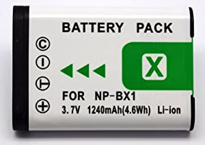 NP-BX1, NPBX1 High Power Plus+ 1240mAh Replacement Lithium Li-on Digital Camera Battery for Sony RX1 DSC-RX1, RX100, DSC-RX100 Digital Camera