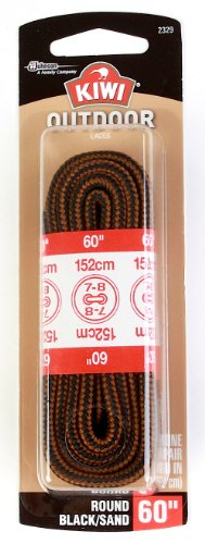Kiwi Boot Laces, 60-Inch, Round, Black/Sand, 3-Pack