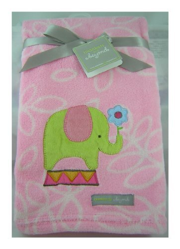 Blankets and Beyond - Pink Blanket - Baby Elephant Design - 28 X 32 Inch.