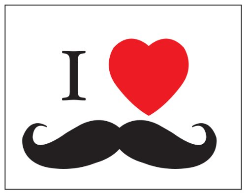 I Heart Stache Sticker Decal. Peel And Stick Black And Red