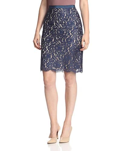Aijek Women's Stolen Dreams Lace Pencil Skirt  [Navy]