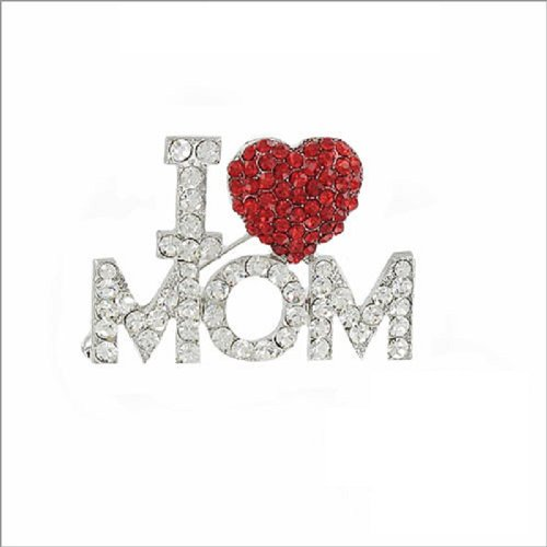 I Love Mom W Heart & Stone Accent Pin #037769