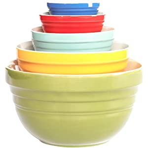 Click to buy Cool Kitchen Gadget: TTU Gallery 5-Piece Mixing Bowl, Retro Multi from Amazon!