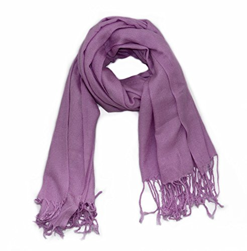 Soophen Pashmina Scarf Beautiful Solid Colors - Light Purple