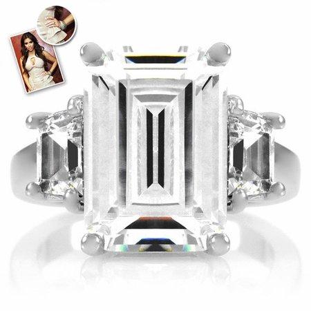 Kim Kardashian Inspired Engagement Ring 6.5 TCW - Petite Silver Tone