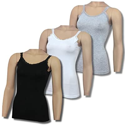 3er Pack Damen Unterhemden mit Spitze in weiß, grau, schwarz BA660