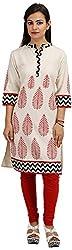 Khushi Garments Women's Cotton Regular Fit Kurta (Khushi02_L, White, Large)