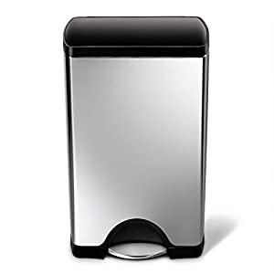 simplehuman Rectangular Step Trash Can, Stainless Steel, Plastic Lid, 38 L / 10 Gal