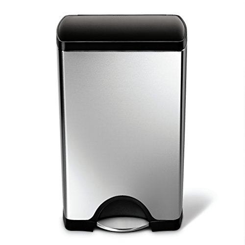simplehuman Rectangular Step Trash Can, Stainless Steel, Plastic Lid, 38 L / 10 Gal (Rectangle Garbage Can compare prices)