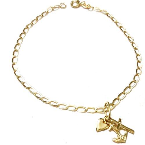 """Bracciale oro 18 kt 750 con Ciondolo """"Fede, Speranza e Carità"""" in Oro 18kt 750 Gr. 2,20 - 18k 750 gold bracelet with pendant"""