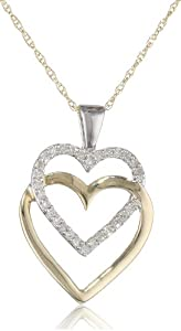 10k Yellow Gold Double Hearts with Diamonds Pendant Necklace (0.10 cttw, I-J Color, I2-I3 Clarity), 18