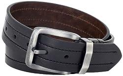 Levi's Men's Levis 40MM Reversible Belt With Brushed Silver Buckle, Black/Brown, Large