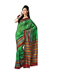Anvi Creations Green Bhagalpuri Cotton Silk Saree (Green_Free Size) - B00TO7OKOC