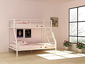 Bunk Bed Triple Metal Frame Children's 3ft Single 4ft6 Double in White