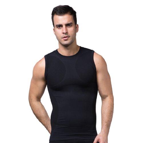 ZEROBODYS Maglietta senza Maniche Uomo compression funzionale maglia Cool-asciutto SS-M05 Nero (XL)