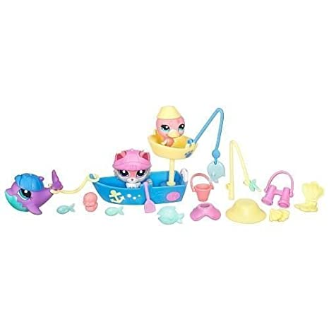 Littlest Pet Shop Figures Themed Playset Lazy Fishing Day Swim n Fish by Hasbro (English Manual)