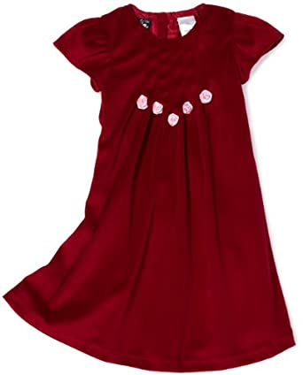 So La Vita Girls 2-6X Toddler Velvet Dress with Flower, Red, 2T