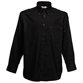 Fruit of the Loom Long Sleeve Oxford Shirt Black S