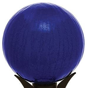 Achla Designs 10-Inch Crackle Gazing Globe, Blue