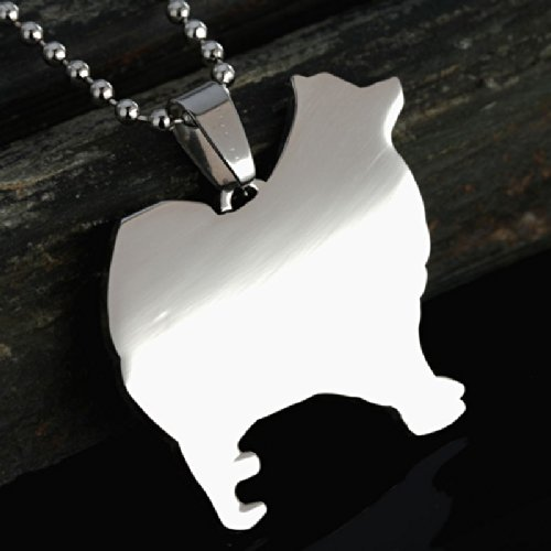 Stainless Steel Samoyed Silhouette Smiley Sammy Pet Dog Tag Breed Collar Charm Pendant Necklace Version 2