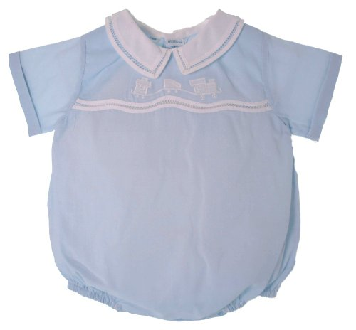 Feltman Brothers Newborn Baby Boys Blue And White Train Bubble Outfit With Collar - Newborn front-722397